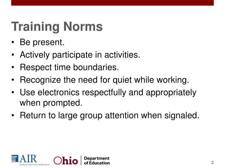 Training norms