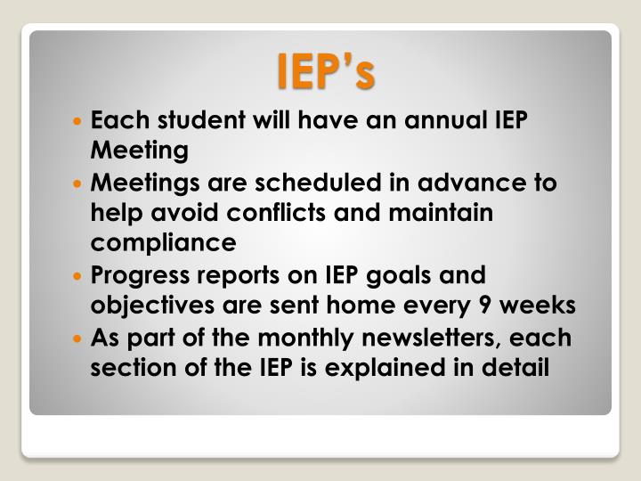 Each student will have an annual IEP Meeting