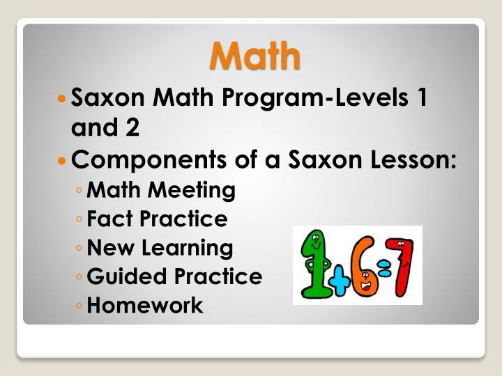 Saxon Math Program-Levels 1 and 2