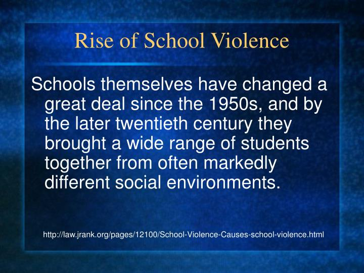 school violence term papers Research paper example essay prompt: school violence - 495 words note: the samle research paper or essay prompt you see on this page is a free essay, available to anyone you can use any paper as a sample on how to write research paper, essay prompts or as a source of information.