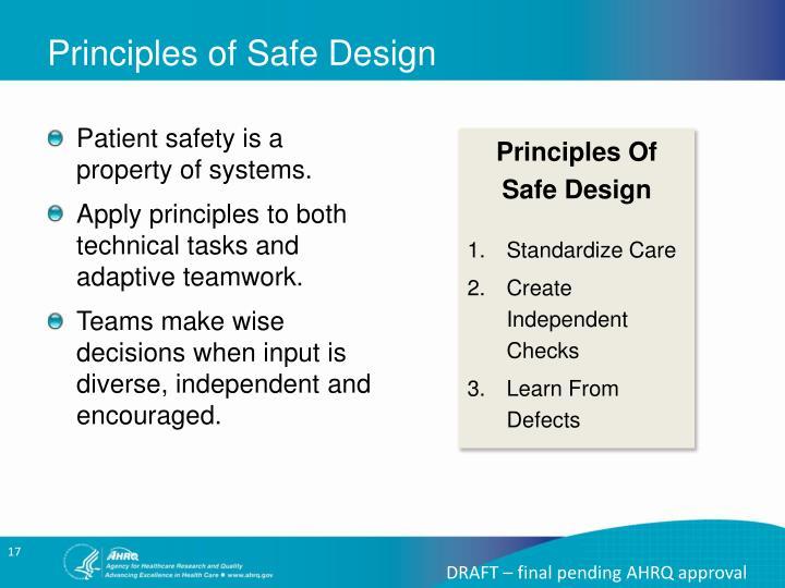 Principles of Safe Design