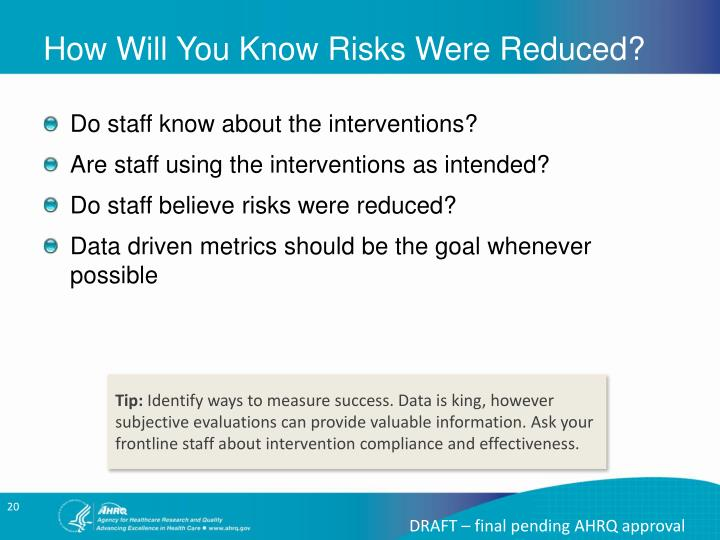 How Will You Know Risks Were Reduced?