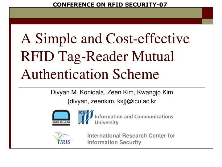 PPT - A Simple and Cost-effective RFID Tag-Reader Mutual