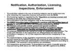 notification authorization licensing inspections enforcement