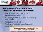 symptoms of coronary heart disease can differ in women