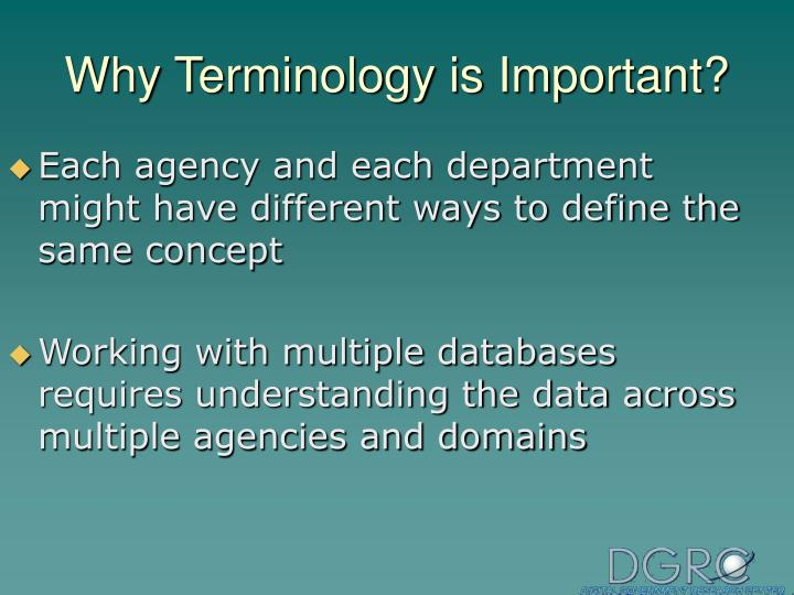 Why terminology is important