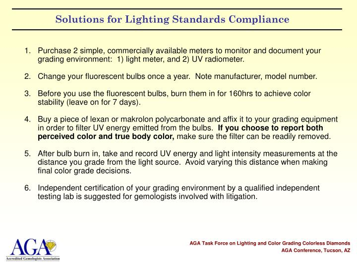Solutions for Lighting Standards Compliance