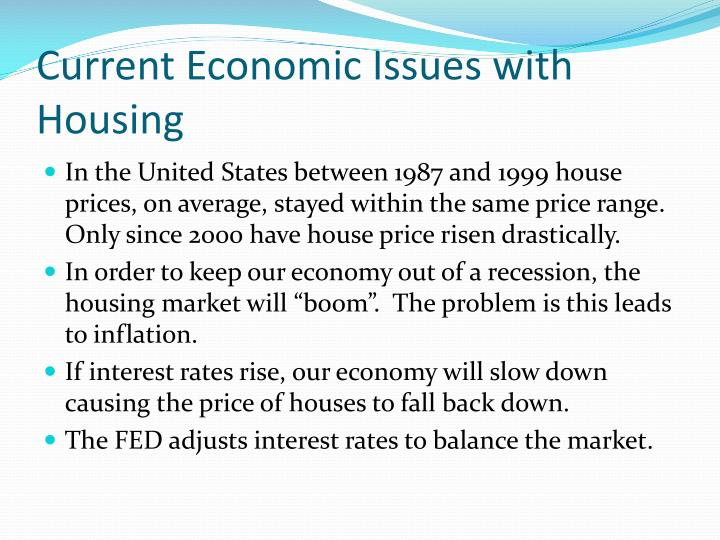 Current economic issues with housing