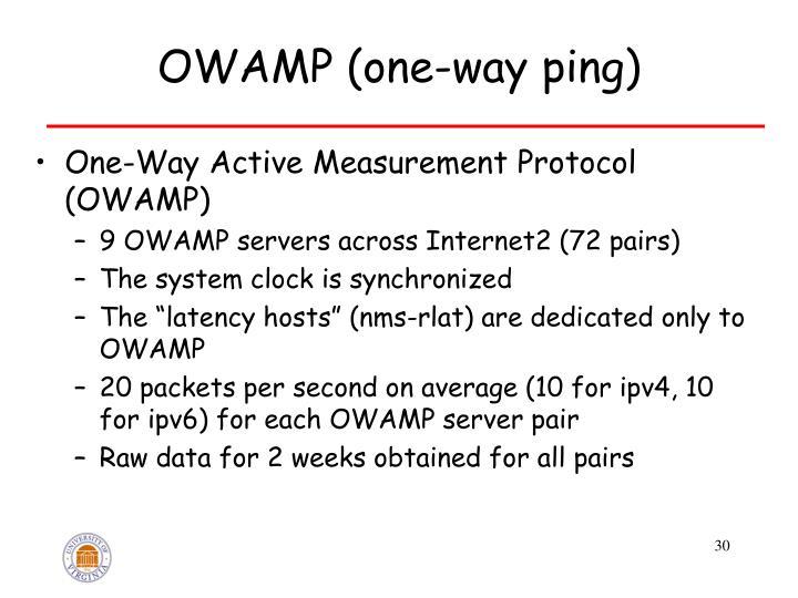 OWAMP (one-way ping)