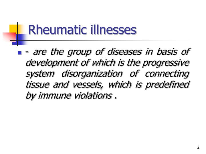 Rheumatic illnesses1