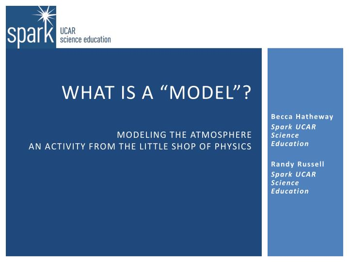 What is a model modeling the atmosphere an activity from the little shop of physics