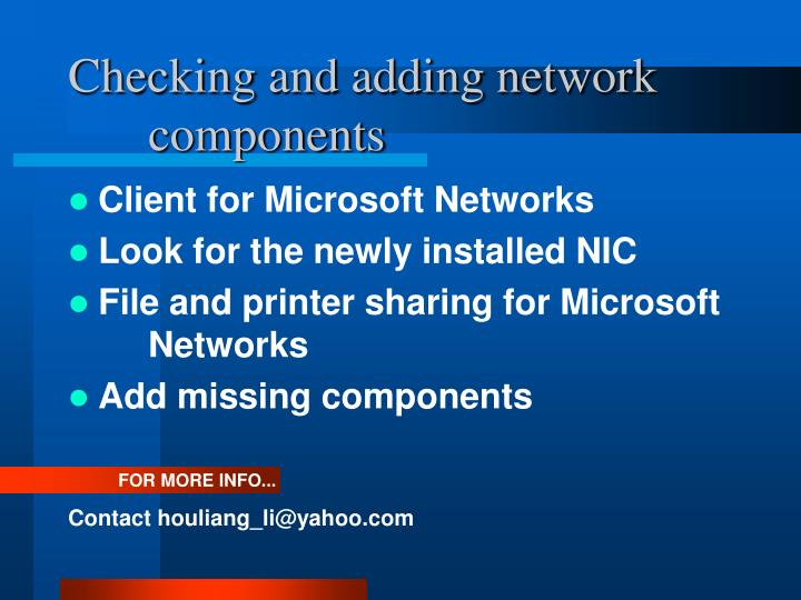 Checking and adding network components