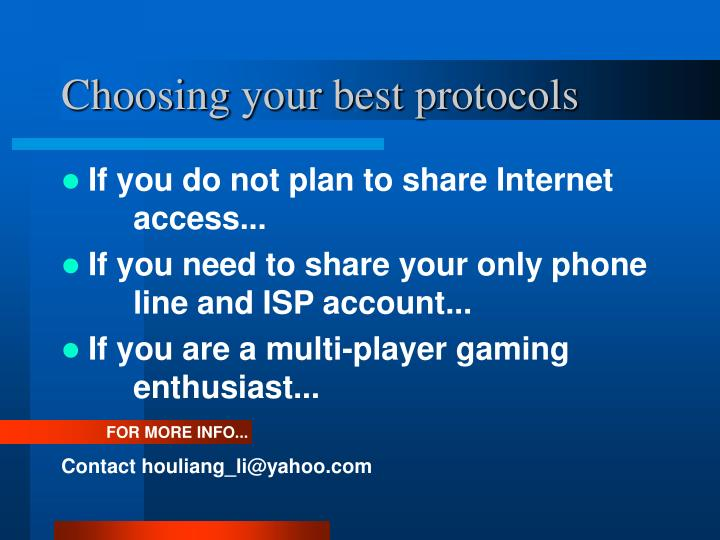 Choosing your best protocols