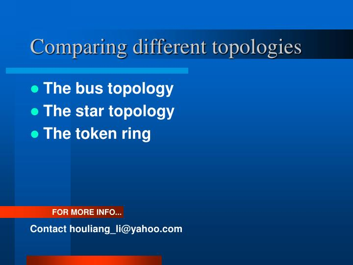Comparing different topologies