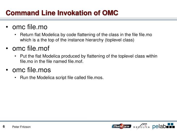 Command Line Invokation of OMC