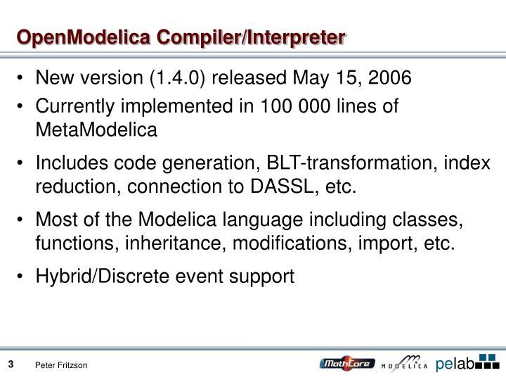 Openmodelica compiler interpreter
