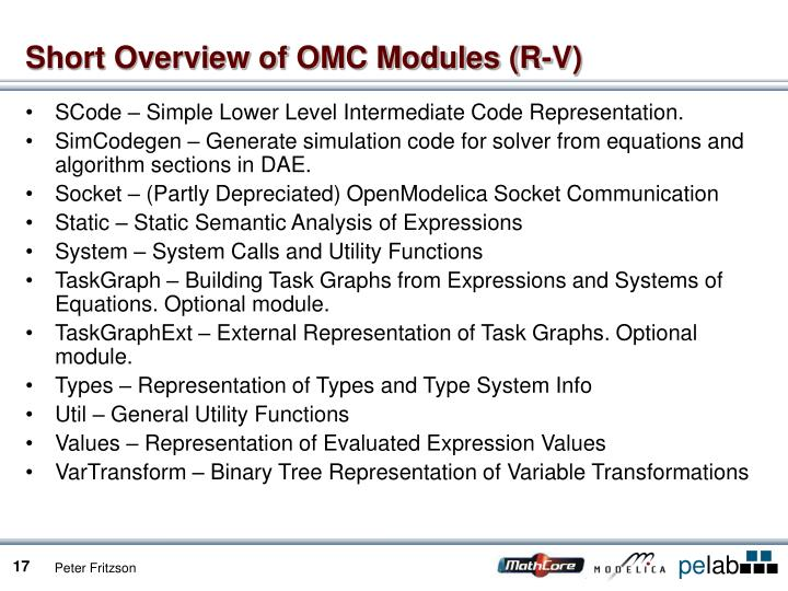 Short Overview of OMC Modules (R-V)