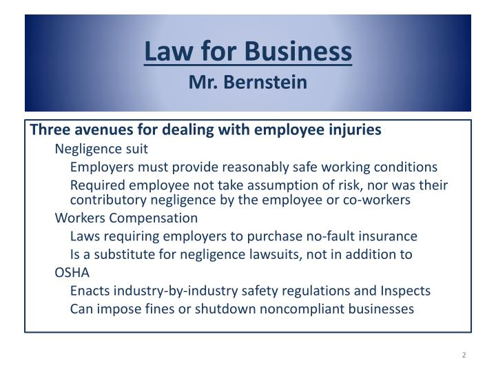 Law for business mr bernstein