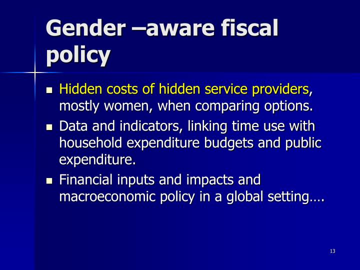 Gender –aware fiscal policy