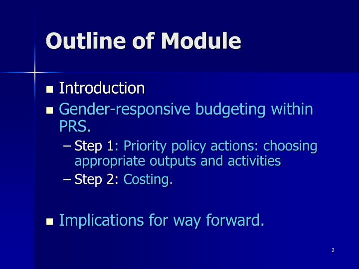 Outline of module