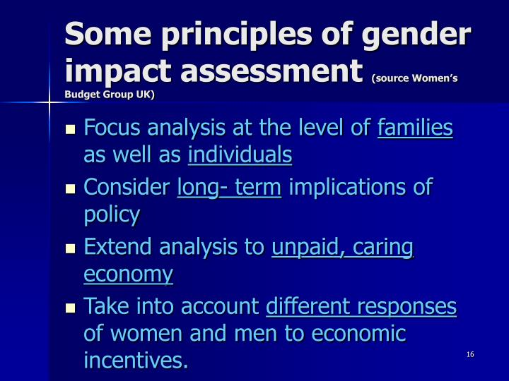 Some principles of gender impact assessment