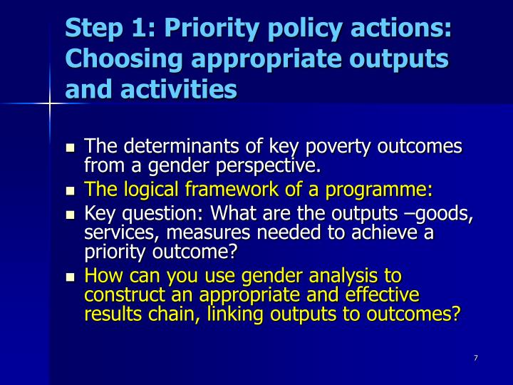 Step 1: Priority policy actions: Choosing appropriate outputs and activities