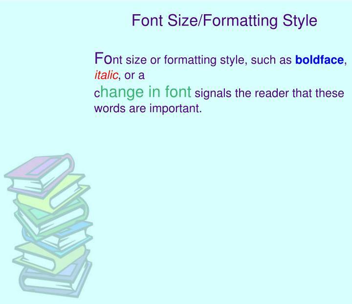 Font Size/Formatting Style