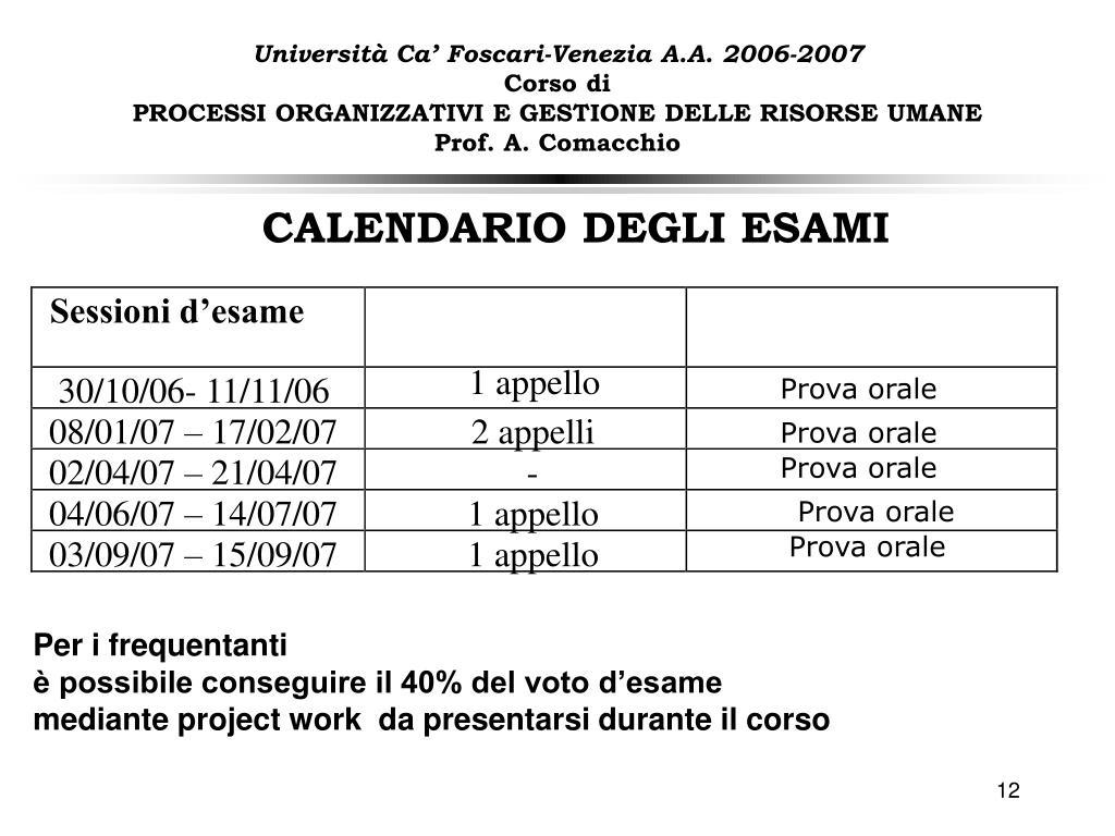 Ca Foscari Calendario Esami.Ppt Presentazione Del Corso E Informazioni Preliminari