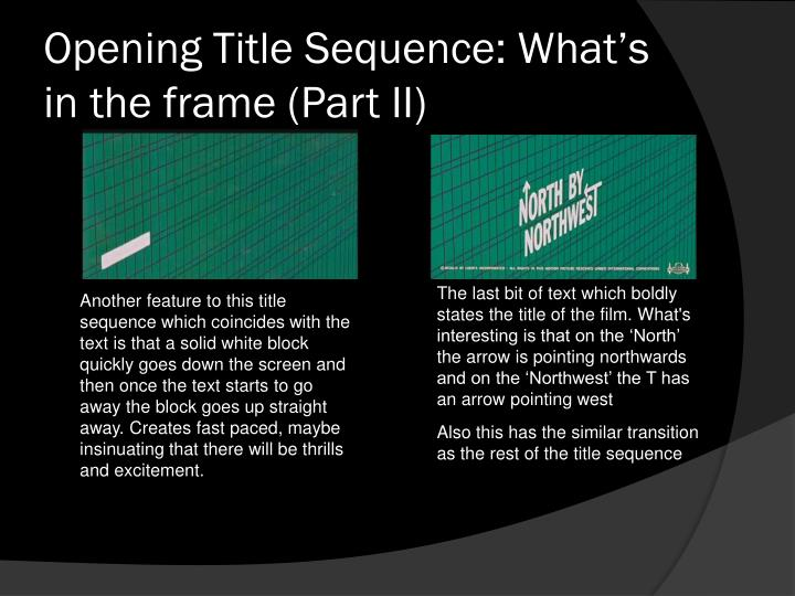 title sequence presentation Download presentation powerpoint slideshow about 'opening title sequence textual analysis:' - norman an image/link below is provided (as is) to download presentation.