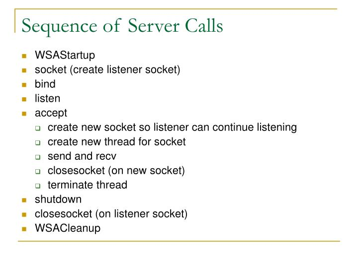 Sequence of Server Calls