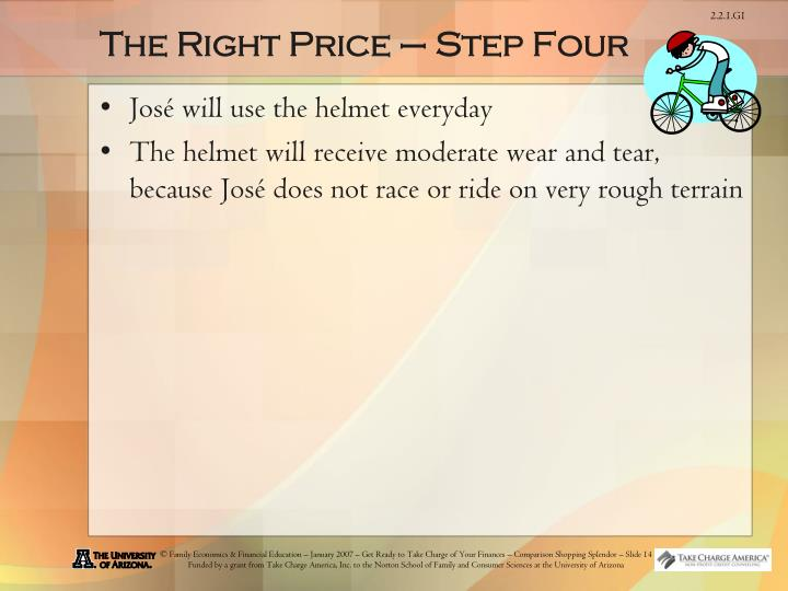 The Right Price – Step Four