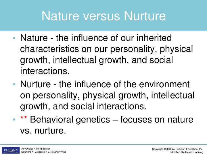 personality nature vs nurture The nature vs nurture debate goes on and on, but still, it is a fact that we have traits that are predetermined by our genes, but we can still choose who we want to be as we travel through our lifetime.