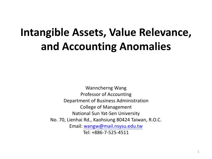 intangible assets value relevance and accounting anomalies n.