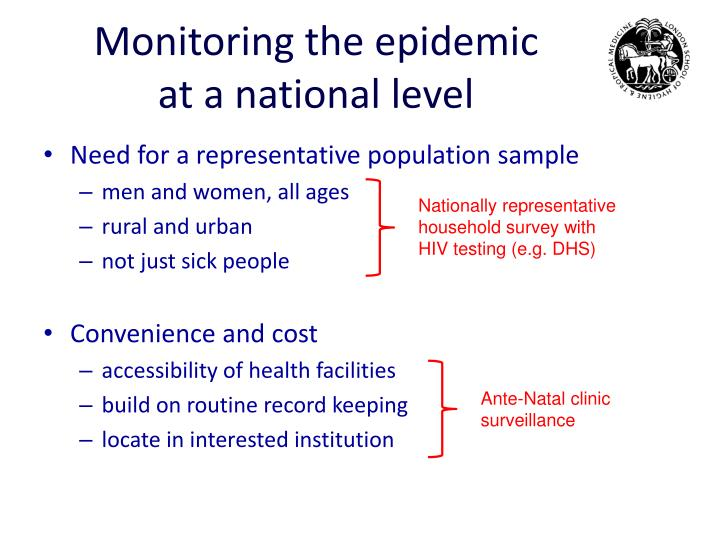 Monitoring the epidemic at a national level