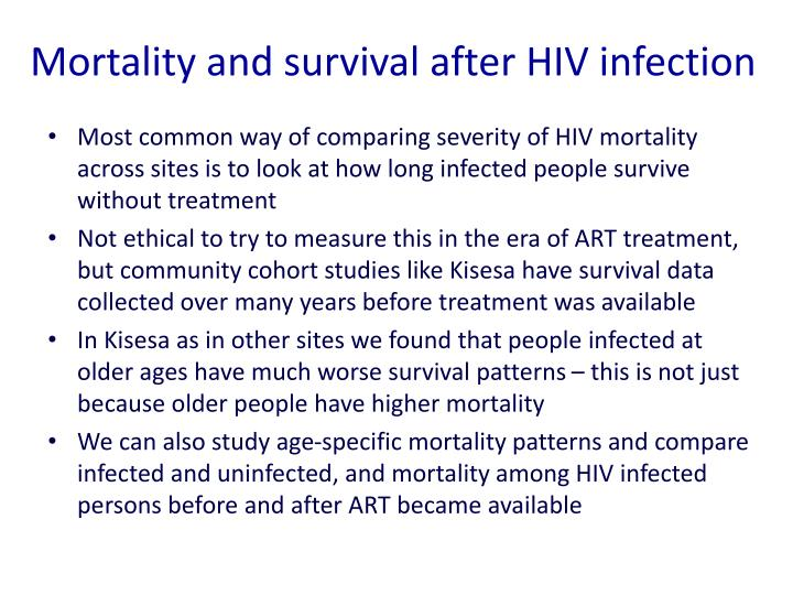 Mortality and survival after HIV infection
