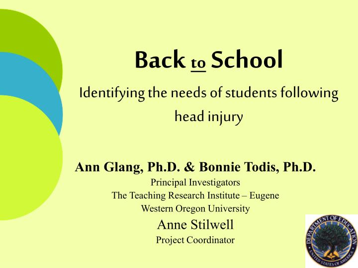 PPT - Back to School Identifying the needs of students