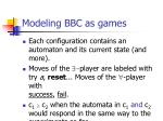 modeling bbc as games