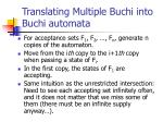 translating multiple buchi into buchi automata