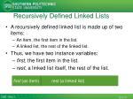 recursively defined linked lists