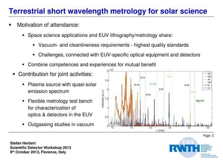 Terrestrial short wavelength metrology for solar science1