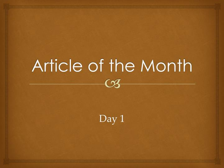 article of the month n.