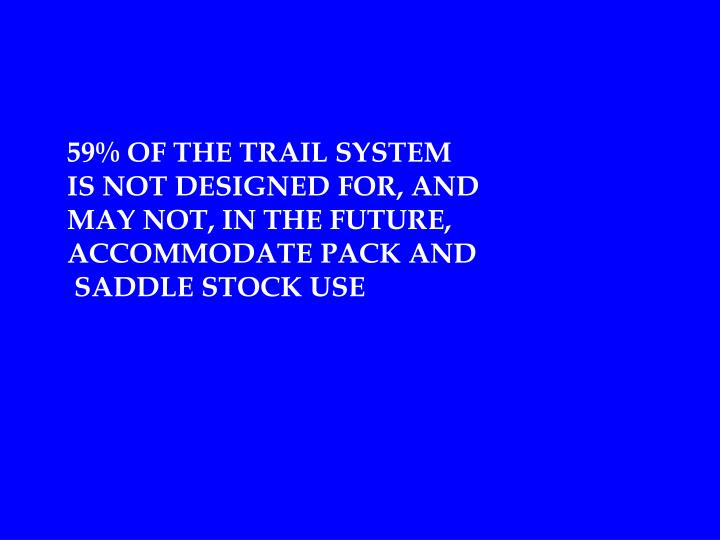 59% OF THE TRAIL SYSTEM