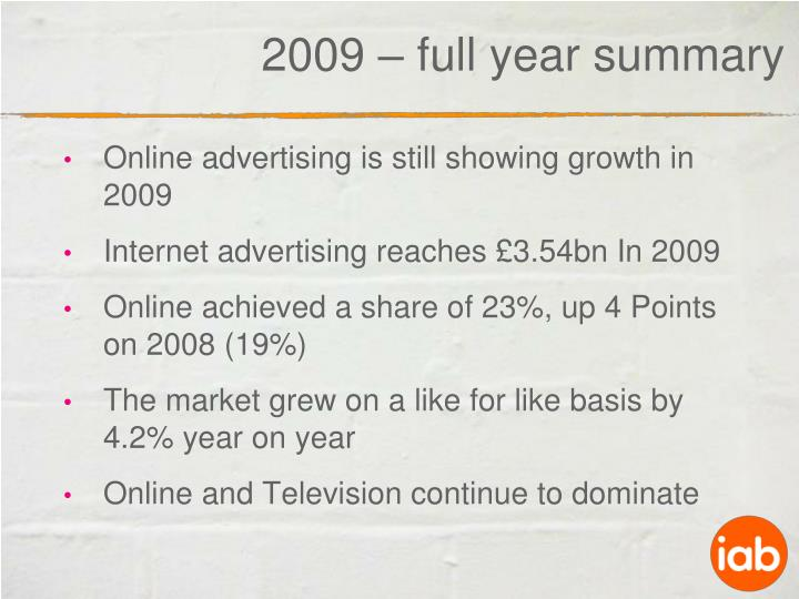 Online advertising is still showing growth in 2009