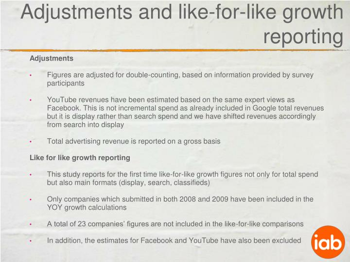 Adjustments and like-for-like growth reporting