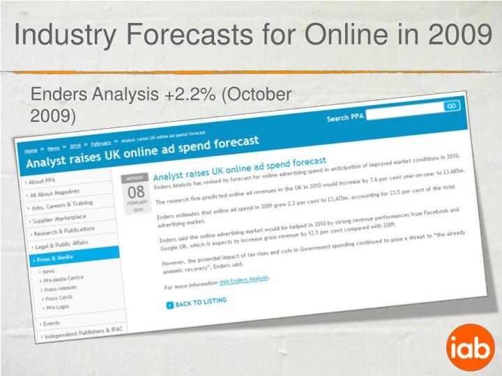 Industry Forecasts for Online in 2009