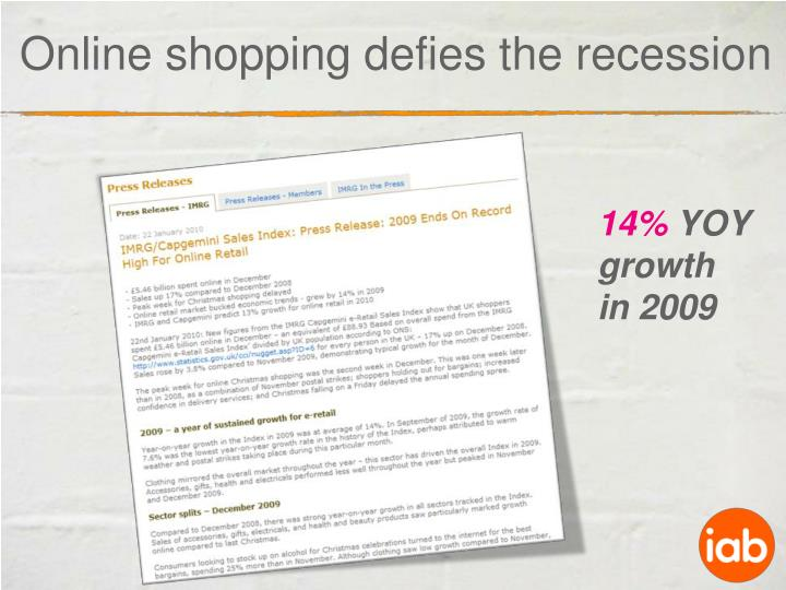Online shopping defies the recession