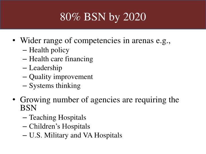 80% BSN by 2020