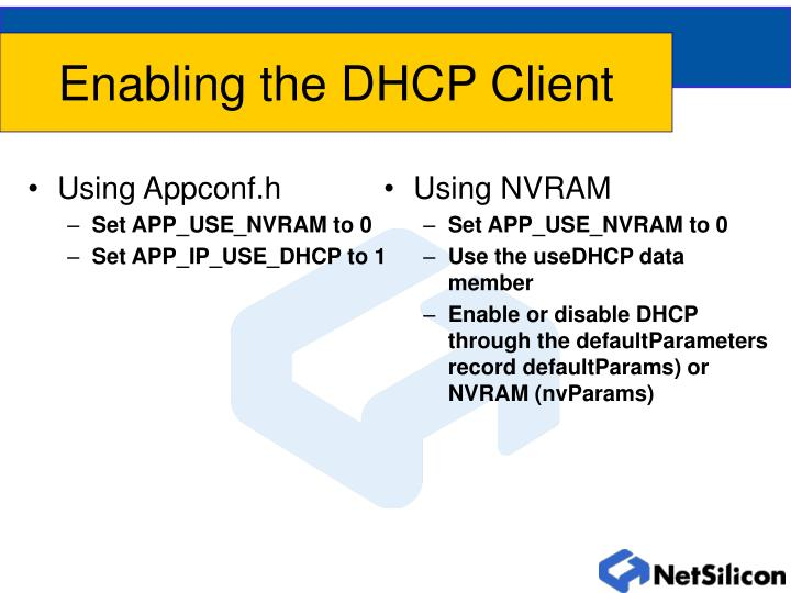Enabling the dhcp client