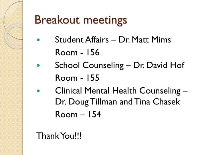 Breakout meetings