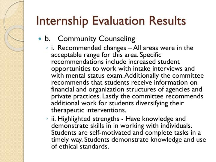 Internship Evaluation Results